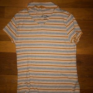 Orange, blue and white striped t-shirt